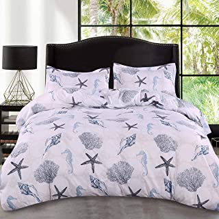 ARTALL 3 Pcs Soft Sea Printing Duvet Cover Set White Grey Quilt Cover Bedding Set, Seashell Starfish Pattern, King(104