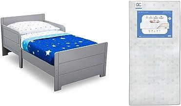 Delta Children MySize Toddler Bed, Grey + Delta Children Twinkle Galaxy Dual Sided Recycled Fiber Core Toddler Mattress (B...