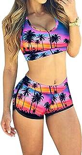 78216b8b10 LANNORN 7couleurs Femmes 2 pièces Sportif imprimé baignade Maillots de Bain  Court Bikini féminin Maillots de