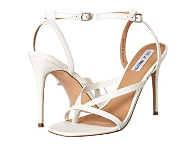 Steve Madden Amada Heeled Sandal (White Leather) Women