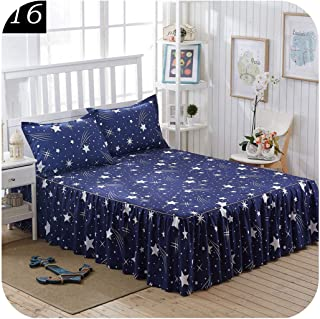 Small Basketball 3Pcs Bed Sheet Set Bed Skirt King Bedding Set for 1.5 1.8 2.0 Bed,Contain 1Bed Skirt 2Pillowcase,16,200x220cm Deep 42 cm