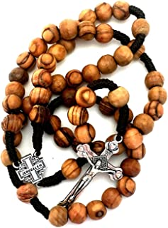 Soul Shop Olive Wood Rosary - Christian Gift from Jerusalem, Traditional Cord Wooden Prayer Beads Brown