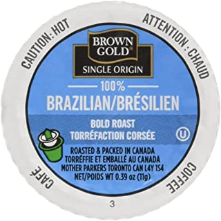 Brown Gold Single Origin Coffee Capsules, 100% Brazillian, Bold Roast, Compatible with Keurig K-Cup Brewers, 24 Count