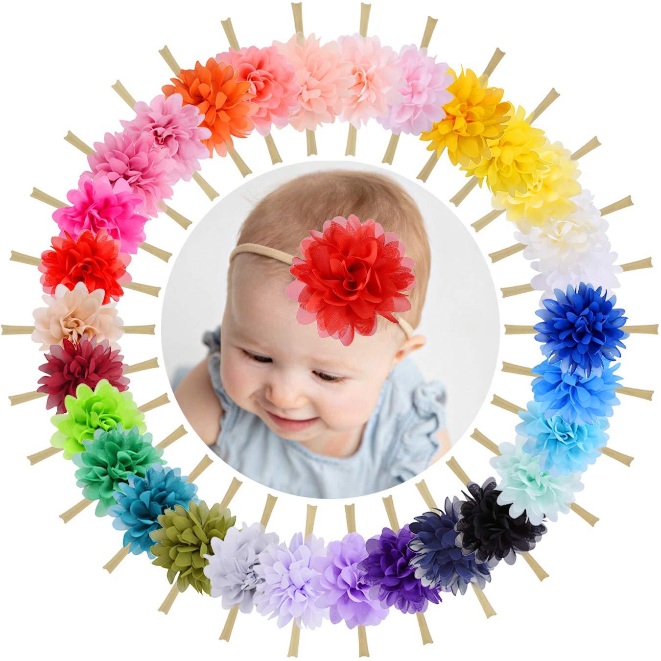 WillingTee 30 Colors 4 Inch Chiffon Flower Nylon Hairbands Soft Headbands Hair Accessories for Baby Girls Infants Toddlers Newborns