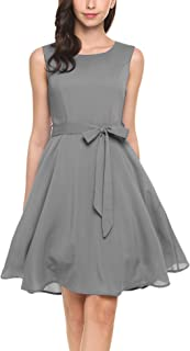 Women Chiffon Summer Sleeveless A-line Pleated Party Cocktail Dress with Belt