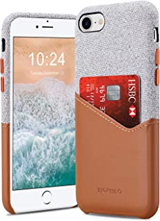 Bigphilo iPhone 7 Case & iPhone 8 Case with Card Holder, Mix Series Slim Cover iPhone 7/8 Wallet Style, Soft-Touch Fabric with Vegan Leather Case for iPhone 7 and iPhone 8 (NOT Plus) - Gray/Brown