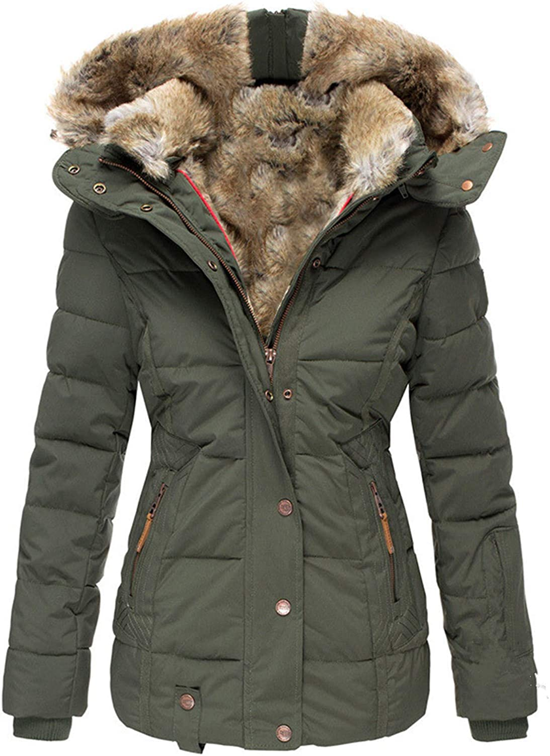 LY-VV Womens Plus Size Thicken Fleece Lined Parka Warm Faux Fur Quilted Jacket