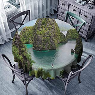 ScottDecor Patterned Round Tablecloth Island,Landscape of Majestic Cliff in Philippines Wild Hot Nature Resort Off Picture,Green Brown Blue Jacquard Tablecloth Diameter 36