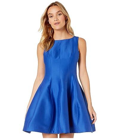 Halston Fit and Flare Silk Faille Dress (Ultramarine) Women