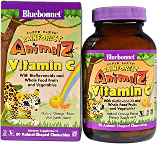 Bluebonnet Nutrition Super Earth Rainforest Animalz Vitamin C Natural Orange Flavor - 90 Chewables