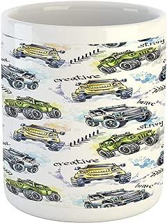 Ambesonne Cars Mug, Hand Drawn Watercolored Monster Trucks Enormous Wheels Off Road Lifestyle, Printed Ceramic Coffee Mug Water Tea Drinks Cup, Yellow Lavender Blue
