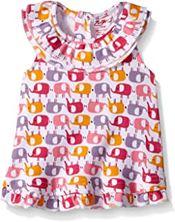 6 Months Zutano Baby-girls Infant 2 Elephants Rev Sunshine Top White
