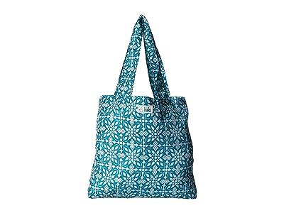 Haiku Bloom (Sea Blue Geo Print) Tote Handbags