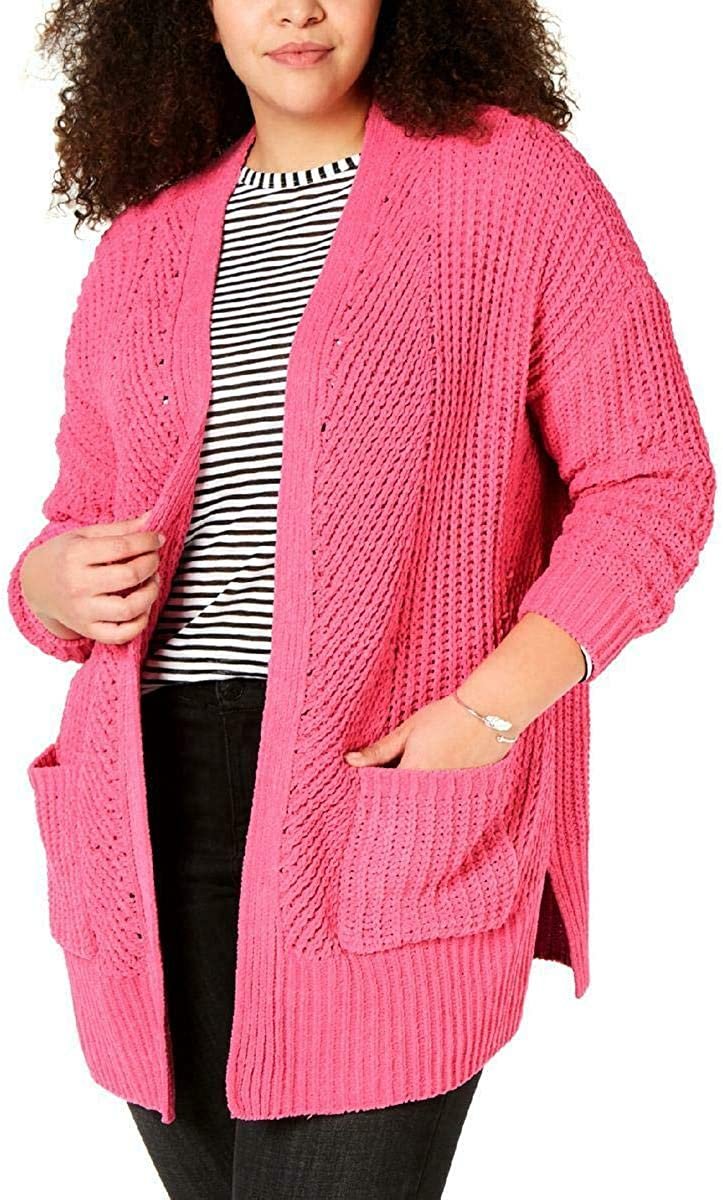 Style & Co. Womens Plus Chenille Ribbed Trim Cardigan Sweater Pink 3X