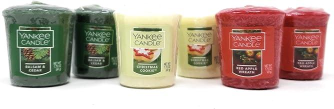 شموع يانكي كاندل عطلة معطرة - بلسم وخشب الأرز، بسكويت عيد الميلاد، إكليل التفاح الأحمر - مجموعة من 6 قطع