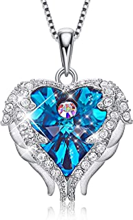 CDE Angel Wing Pendant Necklace White Gold Plated Women Jewelry Heart of Ocean Made with Swarovski Crystals Necklaces for Women Gift for Mothers Day