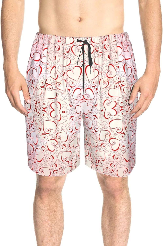 Mens Swim Trunks Valentine's Day Love Heart Pink Swim Short Boardshort Fast Dry Fashion Swimwear Beach Shorts with Lining