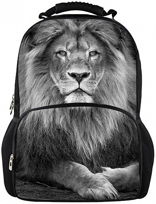 Unisex 3D Backpack Student Bookbag Travel Laptop School Bag Lion For teenagers Boys Girls High College Wolf Rucksack Bagpack W3735A 44x31x18 cm