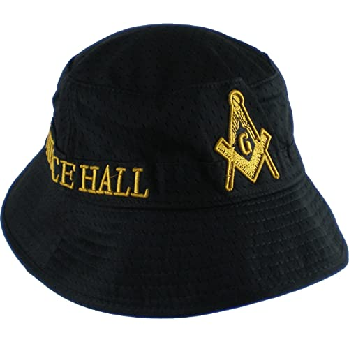9f43c31dc29 Cultural Exchange Prince Hall Mason Big Emblem Mens Floppy Bucket Mesh Hat   Black - 60