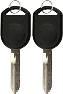KeylessOption Replacement Uncut Ignition Chipped Car Key Transponder Blank For Ford Lincoln Mercury Mazda (Pack of 2)