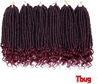 Synthetic Dreadlocks Hair Extensions 14Inch Handmade Goddess Locs 24Strands Short Crochet Braids Locks Extensions,M1B/Burg,14Inches,9Pcs/Lot