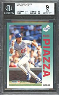 1992 fleer update #92 MIKE PIAZZA dodgers rookie card BGS 9 (9.5 8.5 9 9.5) Graded Card