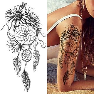 Tijdelijke Tatoeages 3 Vellen Klok Bloem Tattoo Sticker Nep Tijger Leeuw Herten Slang Tijdelijke Tattoo Voor Momen Kids Zw...