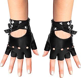 دستکش چرم مصنوعی بدون انگشت Skeleteen - دستکش مشکی پانک دوچرخه سوار با بسته شدن کمربند و طراحی پرچ برای زنان و کودکان
