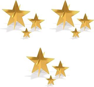 "Beistle 52148-GD, 9 Piece 3-D Foil Star Centerpieces, 3"" - 8"" (Gold)"
