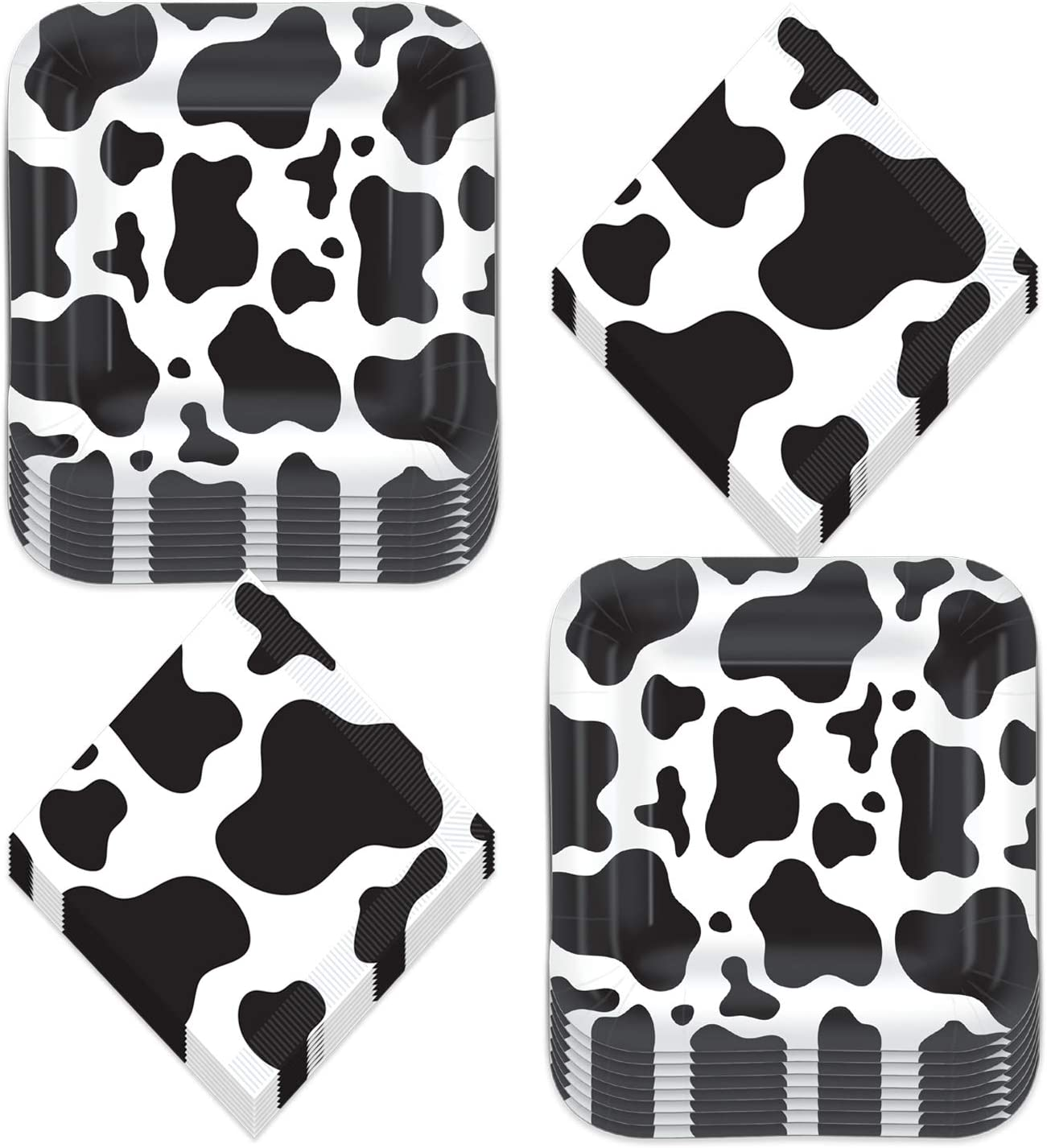 Cow Print Party Supplies - Black and White Cow Print Paper Dinner Plates and Lunch Napkins for Western and Farm Animal Theme Parties (Serves 16)