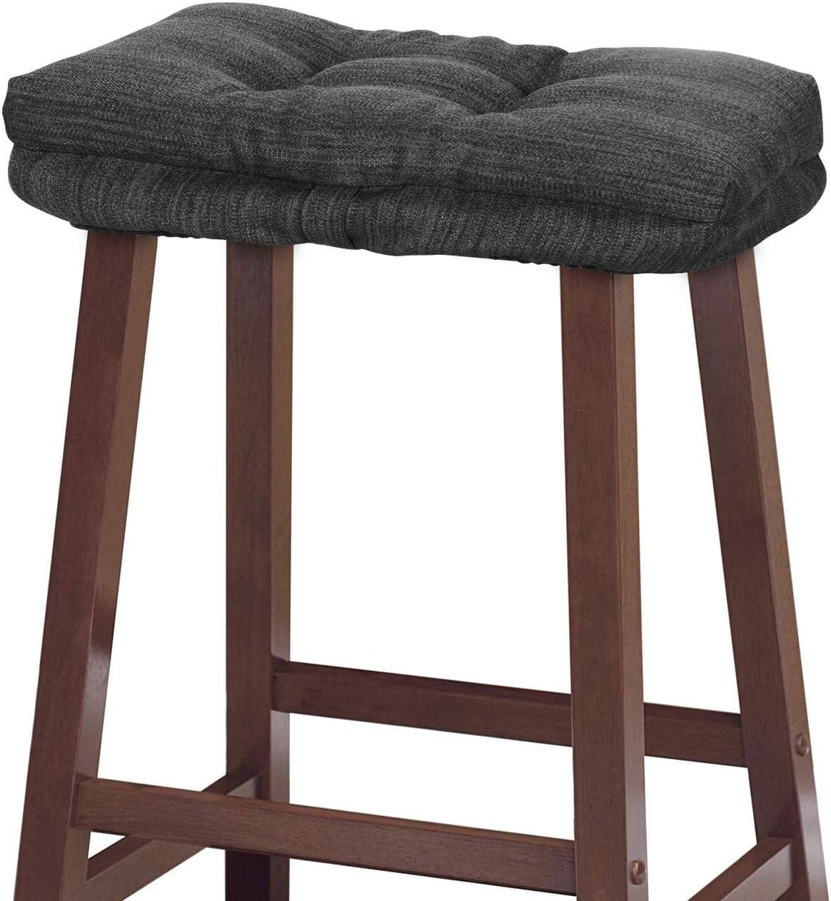 Amazon Com Baibu Stool Cushion Rectangular Super Soft Bar Stool Cushion Saddle Stool Seat Cushions With Ties One Pad Only Gray Black 18x9 5x1 5in Kitchen Dining