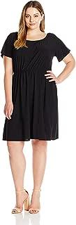 Star Vixen Women's Plus Size Flutter Sleeve Elastic Waist Short Peasant Dress