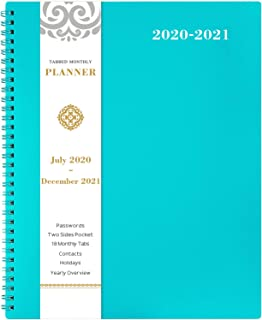 """2020-2021 Monthly Planner - 18-Month Planner with Tabs & Pocket & Label, Contacts and Passwords, 8.5"""" x 11"""", Thick Paper, July 2020 - December 2021,Twin-Wire Binding - Teal by Artfan"""