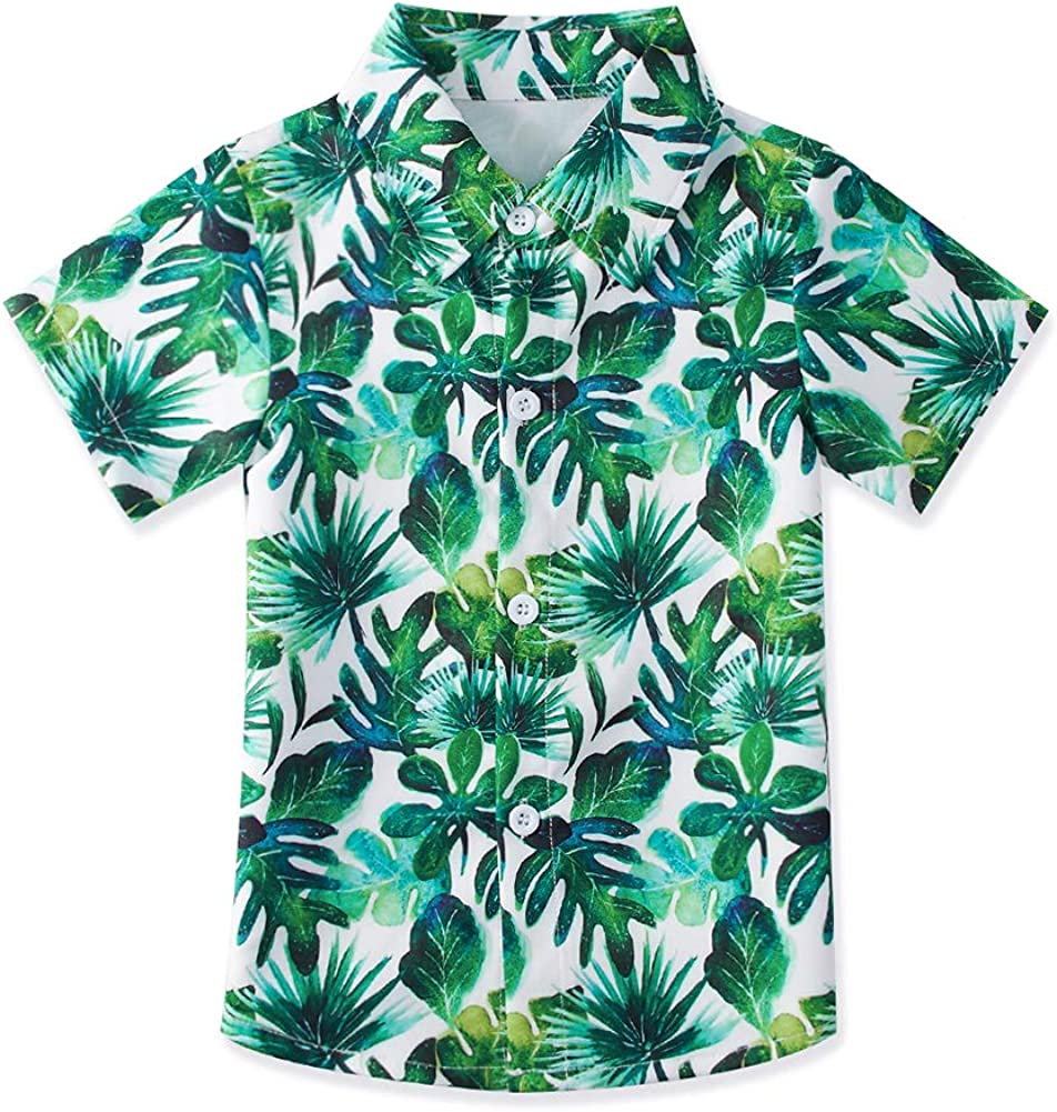 uideazone Kids Boys Hawaiian Aloha Shirt Summer Short Sleeve Button Down Dress Shirt for Beach Holiday 2-8 Years
