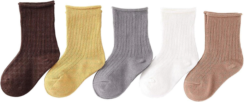 Baby Girls Socks Boys Cotton Socks Toddlers Teens Juniors's Colorful Crew Socks for Baby 5 Pairs
