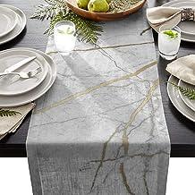 ARTSHOWING Marble Table Runner Crack Pattern Golden Grey Rectangular Runner for Party Decoration Wedding Baby Shower Birth...