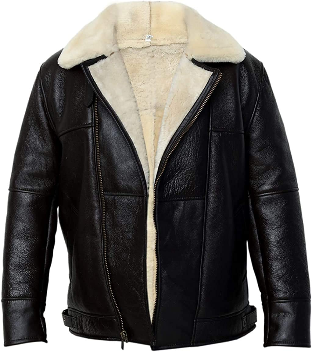 B3 Bomber WWII Pilot Real Shearling Brown Sheepskin Leather Jacket