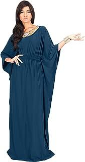 KOH KOH Womens Long Kaftan Flowy Casual Abaya Summer Evening Gown Maxi Dress