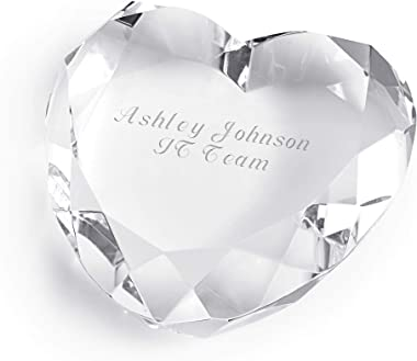 Things Remembered Personalized Clear Crystal Heart Shaped Paperweight with Engraving Included