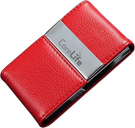 CoreLife Professional Business Card Holder Vegan Leather Magnetic Fold Business Card Case for Men /& Women