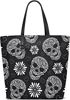 MASSIKOA Sugar Skull Floral Beach Tote Bags Travel Totes Bag Shopping Tote for Women Handbag
