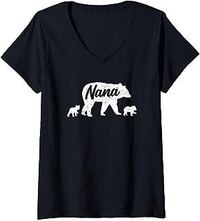Womens Vintage Nana Grandma Bear with 2 Cub Mother's Day V-Neck T-Shirt