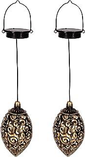 Gadgy latarnia ogrodowa orientalna   zestaw 2 lamp wiszących   solarna lampa ogrodowa metalowa zewnętrzna   IP44 wodoodpor...