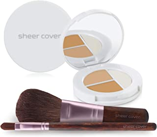 Sheer Cover Studio – Starter Face Kit – Perfect Shade Mineral Foundation – Conceal & Brighten Highlight Trio – with FREE Foundation Brush and Concealer Brush – Light Shade – 4 Pieces