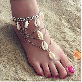 Tgirls 2Pcs Boho Turquoise Ring Anklet Blue Beads Foot Chain Jewelry for Women and Girls