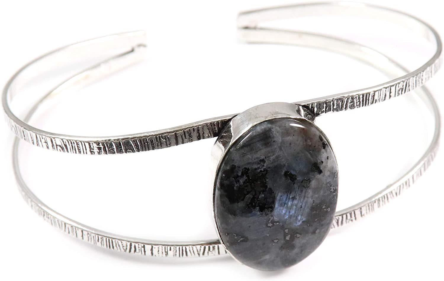 GoyalCrafts Spring Max 46% OFF new work Larvikite Moonstone Cuff Silver Jewe Plated Bracelet