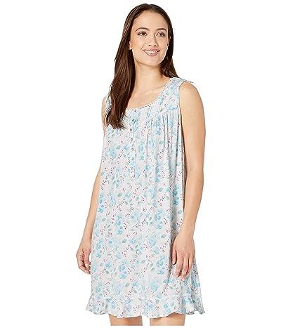 Eileen West Modal Spandex Jersey Knit Sleeveless Short Chemise (White Ground/Multi Floral) Women