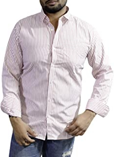 Spanish One Look Mens Casual Long Sleeve 100% Cotton Regular Fit Button Down Casual Shirts Dress in Light Pink Printed Stripped Shirt for Men