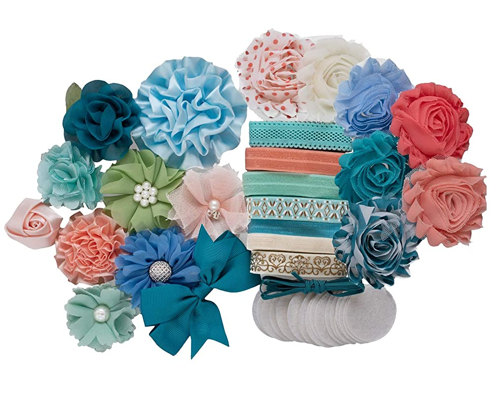 Clementine : DIY Headband Making Station Kit | Unique Hair Accessories | Baby Shower Toddler Tween| Shabby Chiffon Craft Flowers | Teal, Blue, Peach, Mint (Makes 14+)