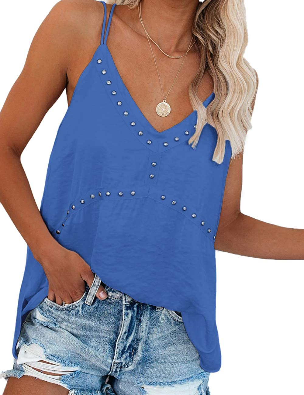 SELINK Women V Neck Spaghetti Strap Tank Tops Casual Sleeveless Cami Shirts